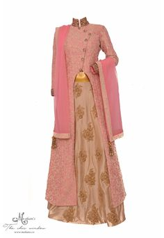 Chic exclusive blush pink and beige long shirt and skirt in exquisite embroidery