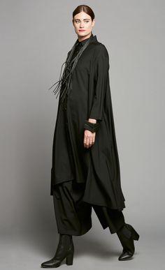 Black Gather Back Coat Dress - Nicola Waite