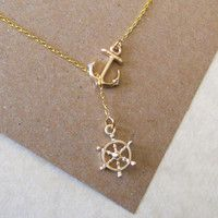 Gold Nautical Lariat Necklace with Anchor and Steering Wheel, love!!