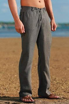 Pure linen & silk beach wedding attire including pants, shirts, vests, jackets, and custom suits for grooms. Mens Beach Wedding Attire, Beach Wedding Groomsmen, Linen Drawstring Pants, Linen Pants, White Linen Shirt, Grey Dress Pants, Beach Weddings, Wedding Beach, Trendy Wedding