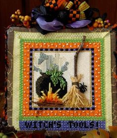 Needlepoint Designs, Needlepoint Stitches, Needlepoint Canvases, Needlework, Halloween Embroidery, Halloween Cross Stitches, Beaded Crafts, Yarn Crafts, Wiccan Crafts