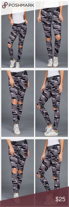 🖤🆕🖤Camo Leggings open at knees So cute! 🖤🆕🖤 🌺🖤🌺incredibly cute camouflage leggings in monotones greys blacks whites. The openings at knees are stitched around the openings. Not just ripped. These are easy wear neutral bottoms. Smoke and pet free home. Bundle to get discount and save on shipping. Ty for looking😍 October Love Pants Leggings