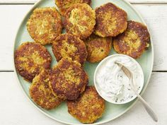 Zucchini Cakes with Herb Sour Cream Recipe from Food Network Magazine - July August 2019 Best Zucchini Recipes, Veggie Recipes, Appetizer Recipes, Cooking Recipes, Appetizers, Dinner Recipes, Lasagna Recipes, Appetizer Ideas, Side Recipes