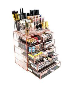 Perfect for the make-up fanatic. Purple Seven-Drawer Acrylic Makeup Organizer Makeup Storage Case, Makeup Storage Organization, Bedroom Organization, Organization Ideas, Make Up Storage, Cosmetic Storage, Makeup Drawer, Storage Hacks, Clear Makeup Organizer
