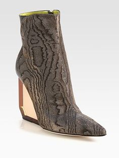2aa10cd3bc7 Pollini - Metallic Brocade   Leather Lucite Wedge Ankle Boots