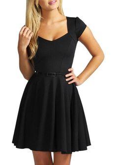 Black Belt Draped Comfy Short Sleeve Elegant Mini Dress