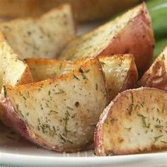 Dill Roasted Red Potatoes: Mix 1 tsp dill weed, 1 tsp garlic powder, 1/2 tsp salt & 1/4 tsp pepper in small bowl. Set aside. Toss potatoes with 1 TBSP EVOO in large bowl. Sprinkle seasoning mixture over potatoes; toss to coat. Spread potatoes in single layer on foil-lined 15x10x1-inch baking pan. Bake @ 400 for40 min til potatoes are tender & golden brown. gm