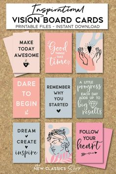 Goal Board, Motivation Wall, Creating A Vision Board, Journaling, Affirmation Cards, Printable Cards, Free Printable Quotes, Planner, Positive Affirmations