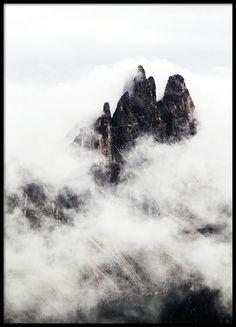 Plakat med foto av fjelltopper