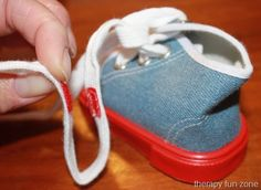 Practicing Tying Shoes with Loopers Laces - Therapy Fun Zone Activities Of Daily Living, Craft Activities For Kids, Therapy Activities, Therapy Ideas, Pediatric Occupational Therapy, Pediatric Ot, Teaching Shoe Tying, Teaching Kids, Kids Learning