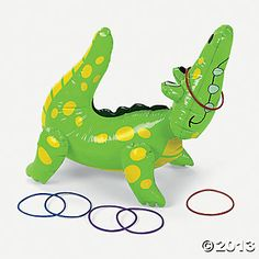 """Inflatable Alligator Ring Toss Game - $8 for one set (set includes 22"""" vinyl alligator and 6 5"""" plastic rings)"""