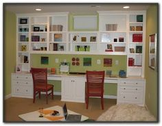 wall unit with desk spaces. Of course our space is much much smaller.