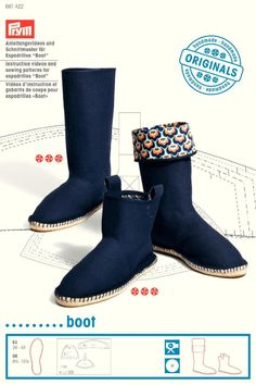 """Instructions and sewing patterns for espadrilles """"Boot"""""""