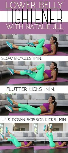 Gym & Entraînement : Description Show your lower belly some love with these 3 moves! You can make this a 3 minute workout or work towards stronger and go for 6 minutes by repeating the steps!: