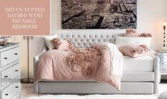Shop the Devyn Tufted Daybed With Trundle Bedroom Bedroom For Girls Kids, Teen Girl Rooms, Teen Bedroom, Dream Bedroom, Bedrooms, Girls Trundle Bed, Daybed With Trundle, Tuffed Bed, Teenage Girl Bed