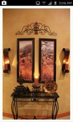 Tuscan design – Mediterranean Home Decor Tuscan Home Decorating, Foyer Decorating, Decorating Kitchen, Tuscan Style Homes, Tuscan House, Style Toscan, Tuscany Decor, World Decor, Tuscan Design