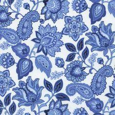 Timeless Treasures Charlotte Jacobean Floral White