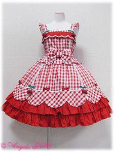 Angelic Pretty - Berry-chan JSK in red Frocks For Girls, Kids Frocks, Kids Outfits Girls, Little Dresses, Little Girl Dresses, Cute Dresses, Girl Outfits, Baby Girl Dress Patterns, Baby Dress