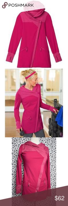Athleta Hot Pink Scarlett Hoodie Zip Up Jacket XS This sweater is as beautiful as it is unique and practical! The detail on the hood is such a nice touch! You can feel the quality in the material. This jacket will keep you cozy for years to come! It has thumb holes, the option to cover your hands, and zipped pockets for your convenience. Don't pass up this opportunity to own this beauty! It's retired and hard to find! If you have any questions please feel free to ask! xoxo Lost Treasures…
