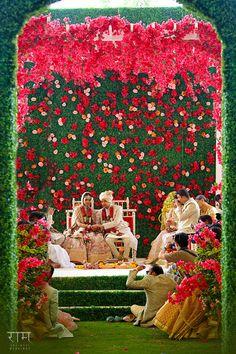 Wedding Decor - Wedding Mandap with Floral Background | WedMeGood  #wedmegood #indianbride #indianwedding #mandap #decor #weddingmandap #floral