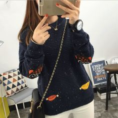 Dcost Navy Blue Cotton Printed Sweater #Sweater