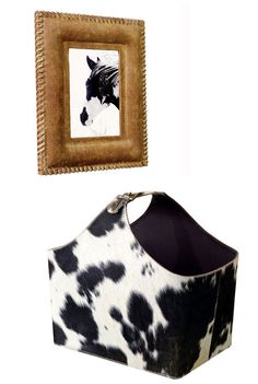 cowhide basket