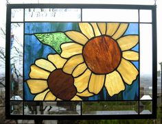 Summer Sunflowers Stained Glass Window by StainedGlassArtist, $154.00