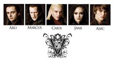 THE VOLTURI FAMILY~~On the picture above from left to right we can see Michael Sheen as Aro, Christopher Heyerdahl as Marcus, Jamie Campbell Bower as Caius, Dakota Fanning as Jane, and Cameron Bright as Alec. Twilight Saga New Moon, Twilight Movie, Fantasy Romance, Fantasy Books, Vampires, New Moon Images, Aro Volturi, Christopher Heyerdahl, Cameron Bright
