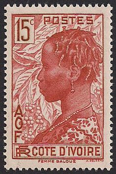 Estampilla Costa de Marfil, 1936 - Mujer Baoulé Zippertravel.com Digital Edition