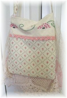 Vintage BOHO COLLAGE Laura Ashley roses slouchy handbag