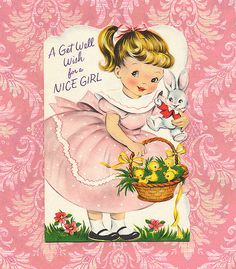 A (darling) get well wish for a nice girl. #vintage #get_well #cards