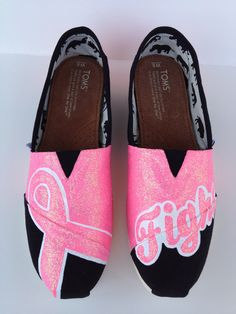 PINK Breast Cancer Awareness - Painted Custom TOMS....