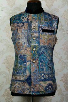 Blue jute fascinating printed waist coat with mandarin collar - Waistcoat Kurtas - Men's Wear Indian Designer Outfits, Designer Clothes For Men, Clothes For Women, Indian Groom Wear, Indian Ethnic Wear, Wedding Dress Men, Wedding Outfits, Saree Wedding, Indian Men Fashion