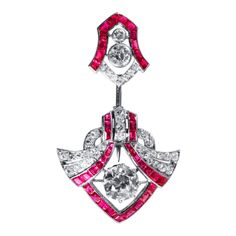 Art Deco Ruby Diamond Platinum Jabot Brooch