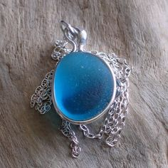 Reserved for sparklingsweetsugar Natural Sea Glass Sterling Silver Pendant Necklace Bezel Inlay Aquamarine Multicolor (286)