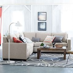 Henry 3-Piece L-Shaped Sectional   West Elm - PERFECT size for your living room - I'm thinking in the Linen Weave Natural fabric - $2,747 (less 20% discount is $2,198)