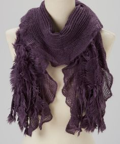 Gorgeous Plum Pleated Faux Fur Panel Scarf