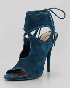 Sexy Thing Suede Tie-Back Sandal, Dark Teal by Aquazzura at Neiman Marcus.  $495.00 sold out in my size....