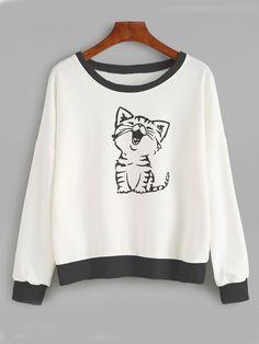Cat Print Drop Shoulder Sweatshirt - Sweat Shirt - Ideas of Sweat Shirt - Cat Print Drop Shoulder Sweatshirt Cool Outfits, Casual Outfits, Fashion Outfits, Mein Style, Kawaii Clothes, Cat Shirts, Sweat Shirt, Hooded Sweatshirts, Hoodies