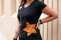 DIY: leather applique tee