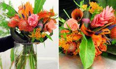 Création florale - Aquarelle.com Un bouquet haut en couleurs composé de fleurs exotiques et de fleurs de nos contrées