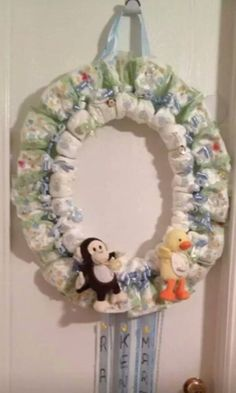 1st diaper wreath I ever did for my 1st Grandson Ray
