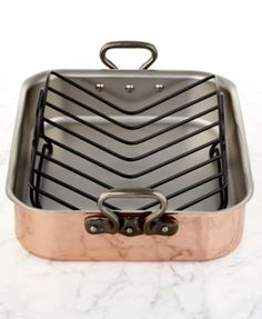 "Mauviel Tri-Ply Copper 15.7"" x 11.8"" Roaster with Rack"