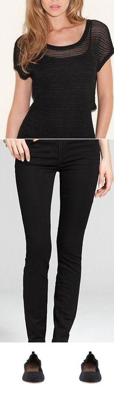 Jade Short-Sleeve Pullover, JEGGING - BLACK WASH, JOLENE