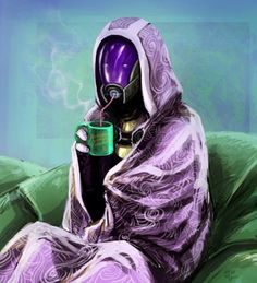Hmmmm... wonder what could have made her sick... O____O .... yeah..... ;-)   (Mass Effect - Tali)
