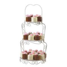 Petaled Petit Fours Mini Cakes - Party treats are easier if you can make your decorations ahead of time! These bite-sized cakes are covered with melted candy then topped with a pre-made rose.