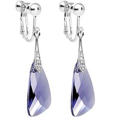 3f5bf37a0 Amazon.com: Body Candy Handcrafted Silver Plated Purple Inspire Clip On  Earrings Created with Swarovski Crystals: Jewelry. Women's EarringsScrew  Back ...