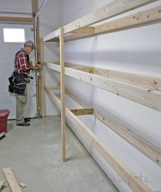 Diy garage shelves 5 ways to build yours bobvila ana white build a easy and fast diy garage or basement shelving for tote storage free and easy diy project and furniture plans woodworking solutioingenieria Image collections