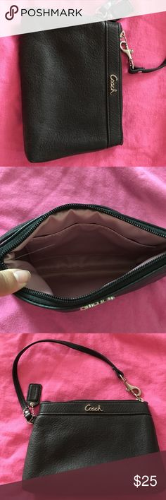 Coach Wristlet Black leather coach Wristlet! Only used once! Excellent condition!!! Perfect little Wristlet for a night out when you don't want to lug your purse with you!! Coach Bags Clutches & Wristlets