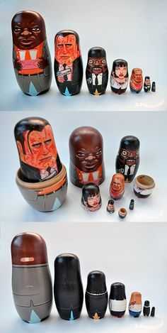 Pulp Fiction - Nesting dolls with Marsellus Wallace as the biggest badass doll followed by a blood splattered Vincent Vega, Jules Winnfield pointing Mr 9mm, Mia Wallace with a shot of adrenaline, Butch Coolidge brandishing a samurai sword, a tiny Winston Wolf and an itty bitty Gimp #GangsterMovie #GangsterFlick